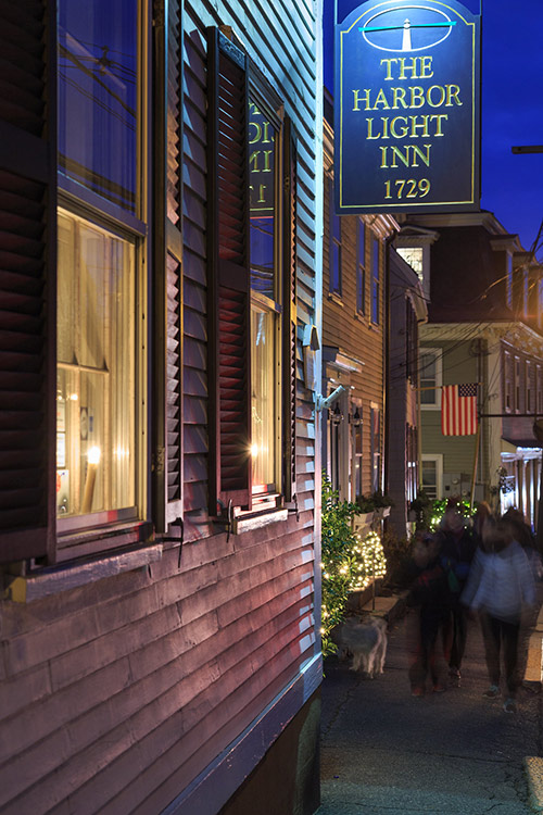 Harbor Light Inn exterior at night