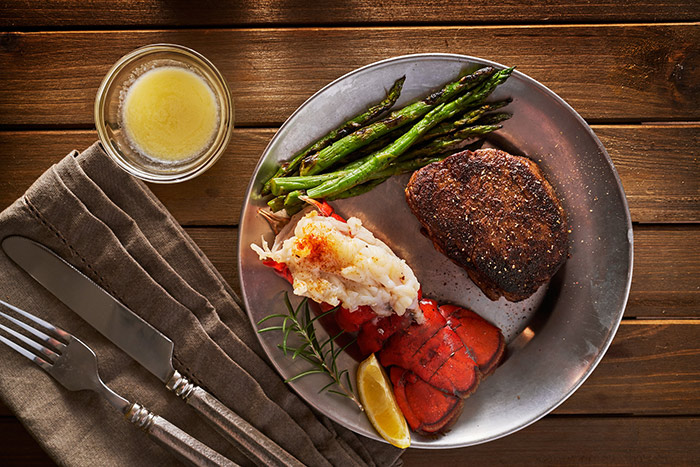 Steak and lobster dinner is served at a top Marblehead restaurant