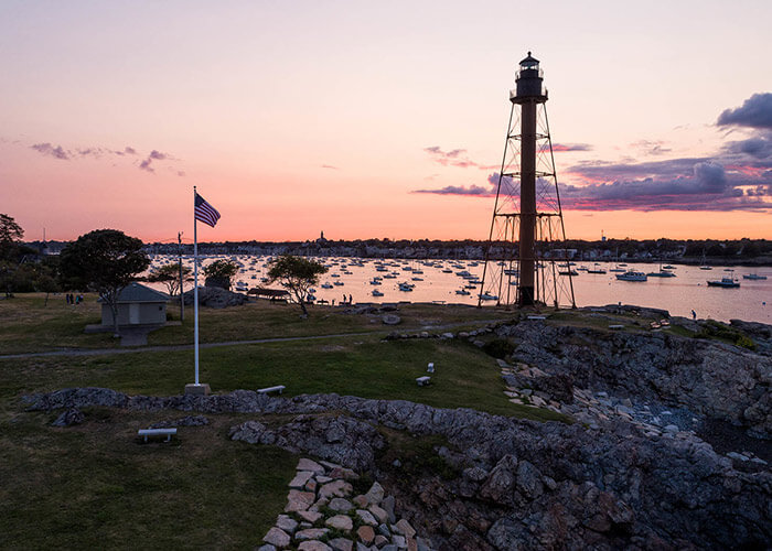 View of the water at sunset in Marblehead, MA
