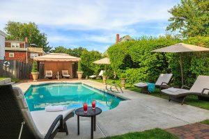 The pool at our inn near Salem, MA