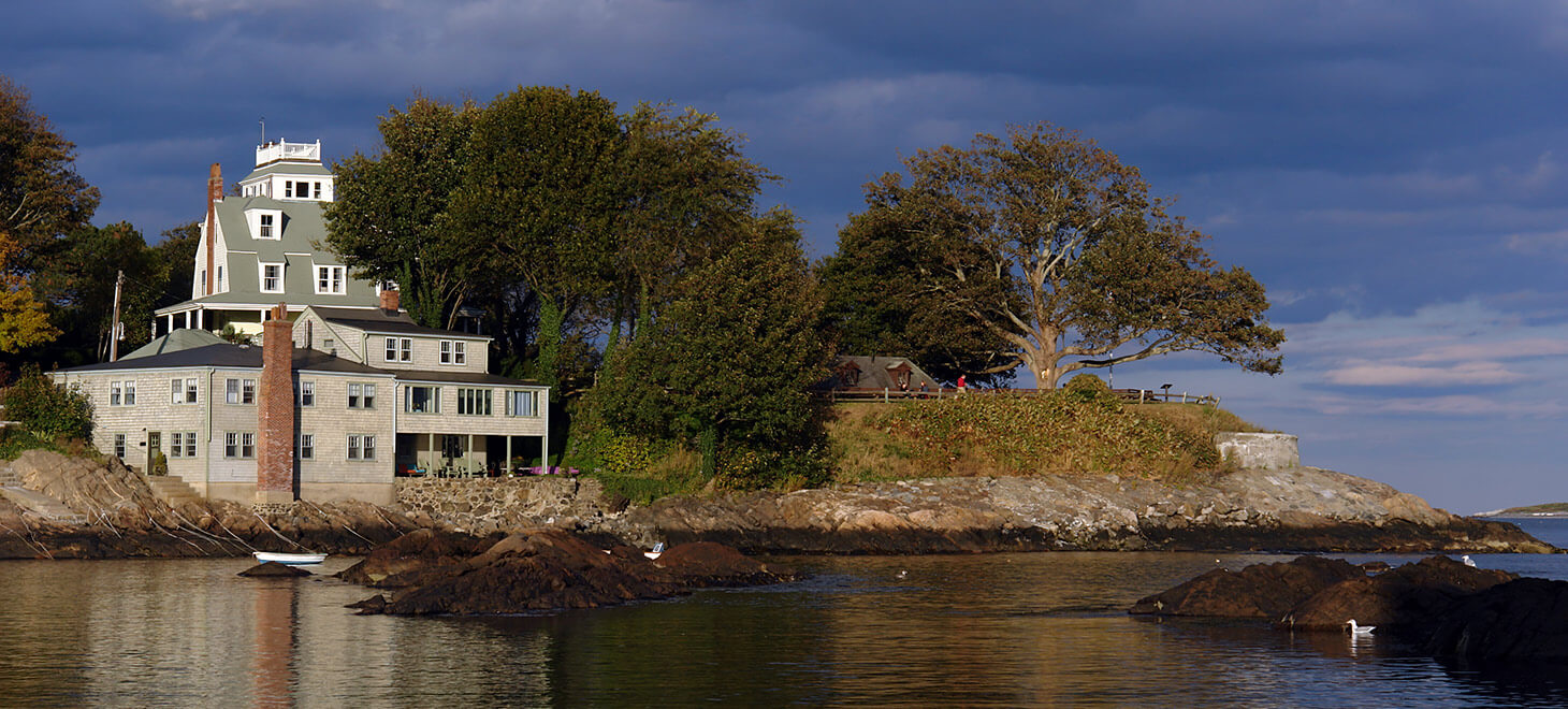 View of the harbor and houses on the shore in Marblehead, MA