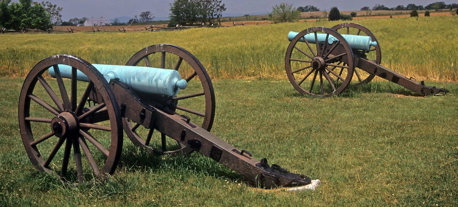 Massachusetts Historical Sites - Old cannons in a field
