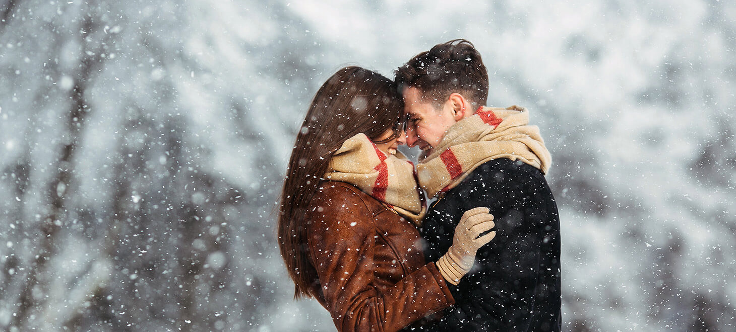 Romantic couple in the snow