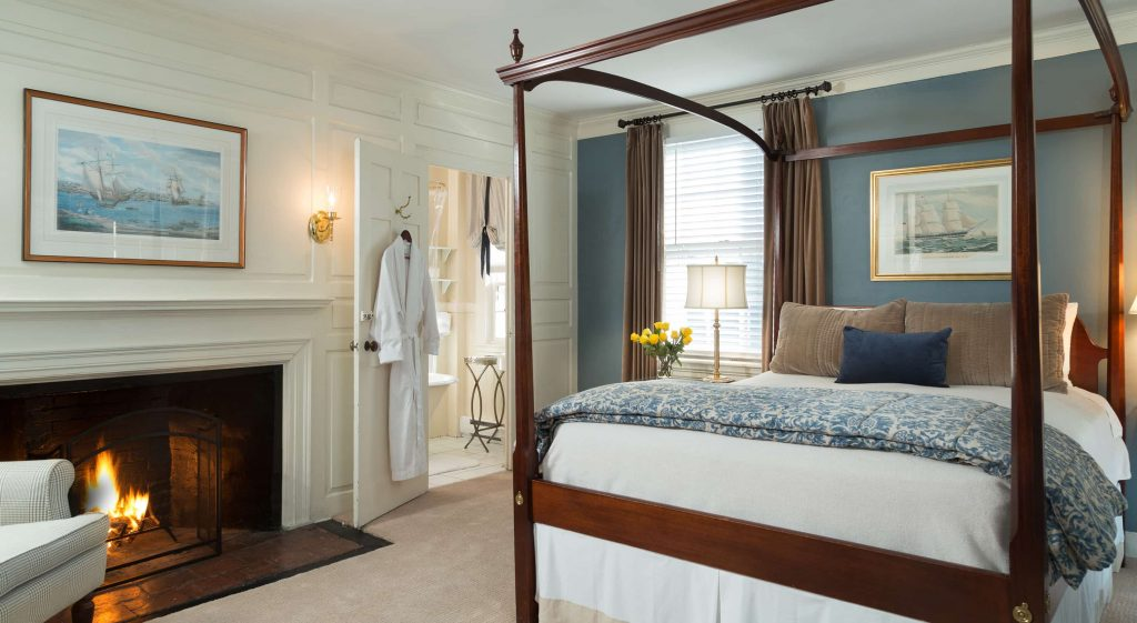Luxurious guest room with fireplace