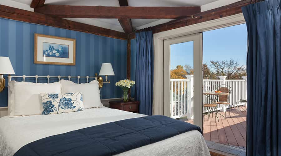 Guest room with private deck at our Marblehead hotel